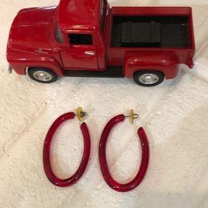 Vintage Red Bakelite  earrings